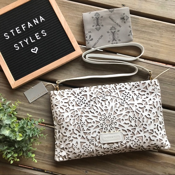 Isabella Fiore Handbags - NWT Isabella Fiore White Leather Crossbody/ Clutch